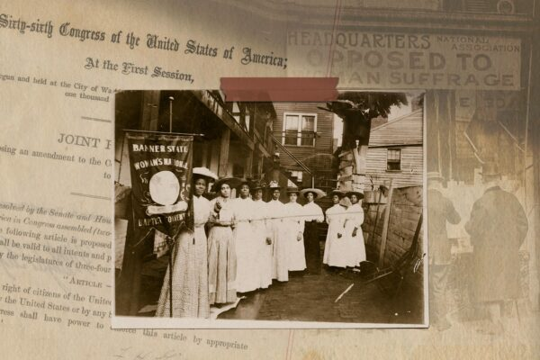 Photo collage of The 19th amendment and archival suffrage images.