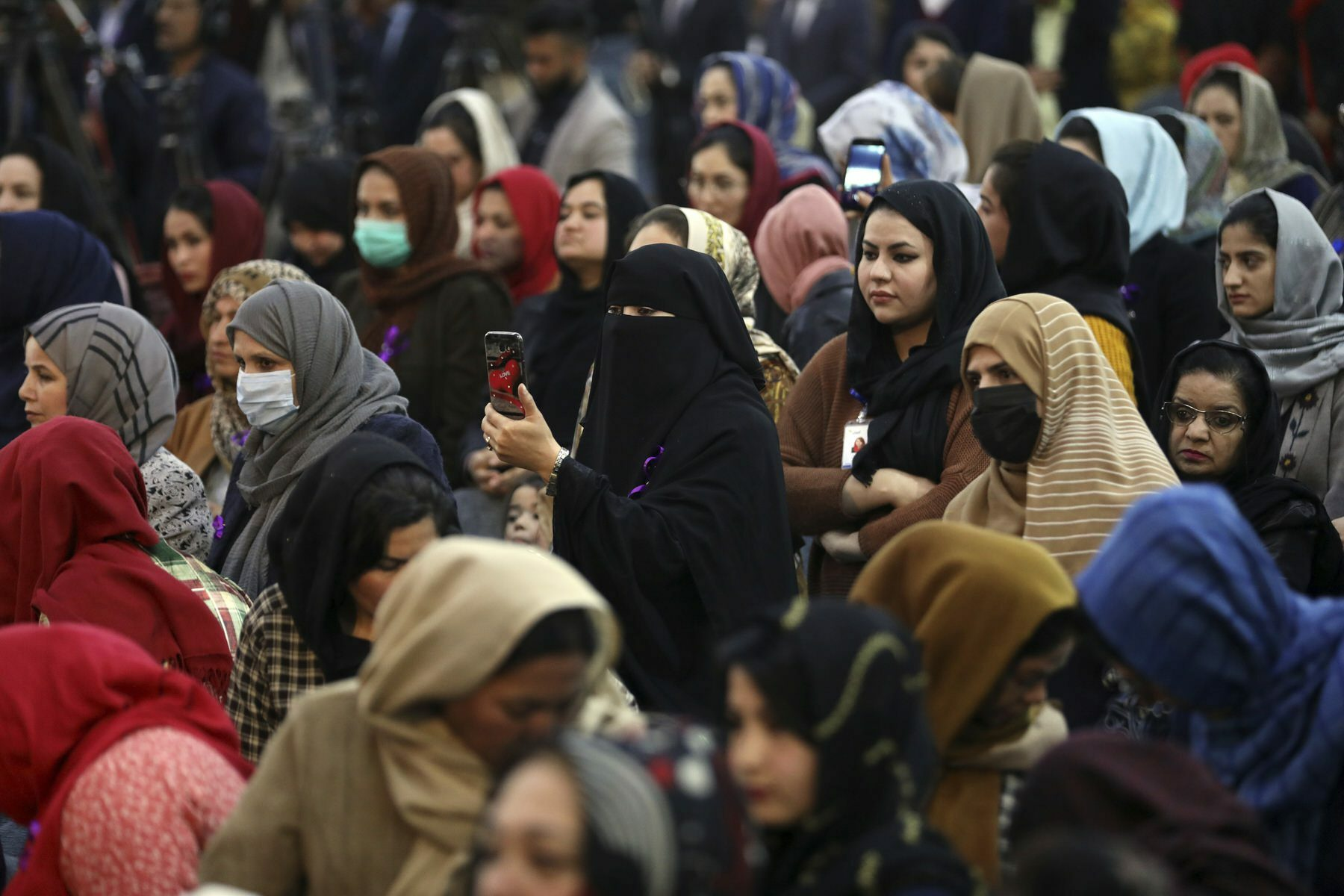 Afghan women attend an event to mark International Women's Day in Kabul, Afghanistan.