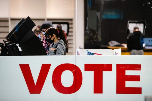 A woman casts her ballot in the 2020 general election in El Paso, Texas.