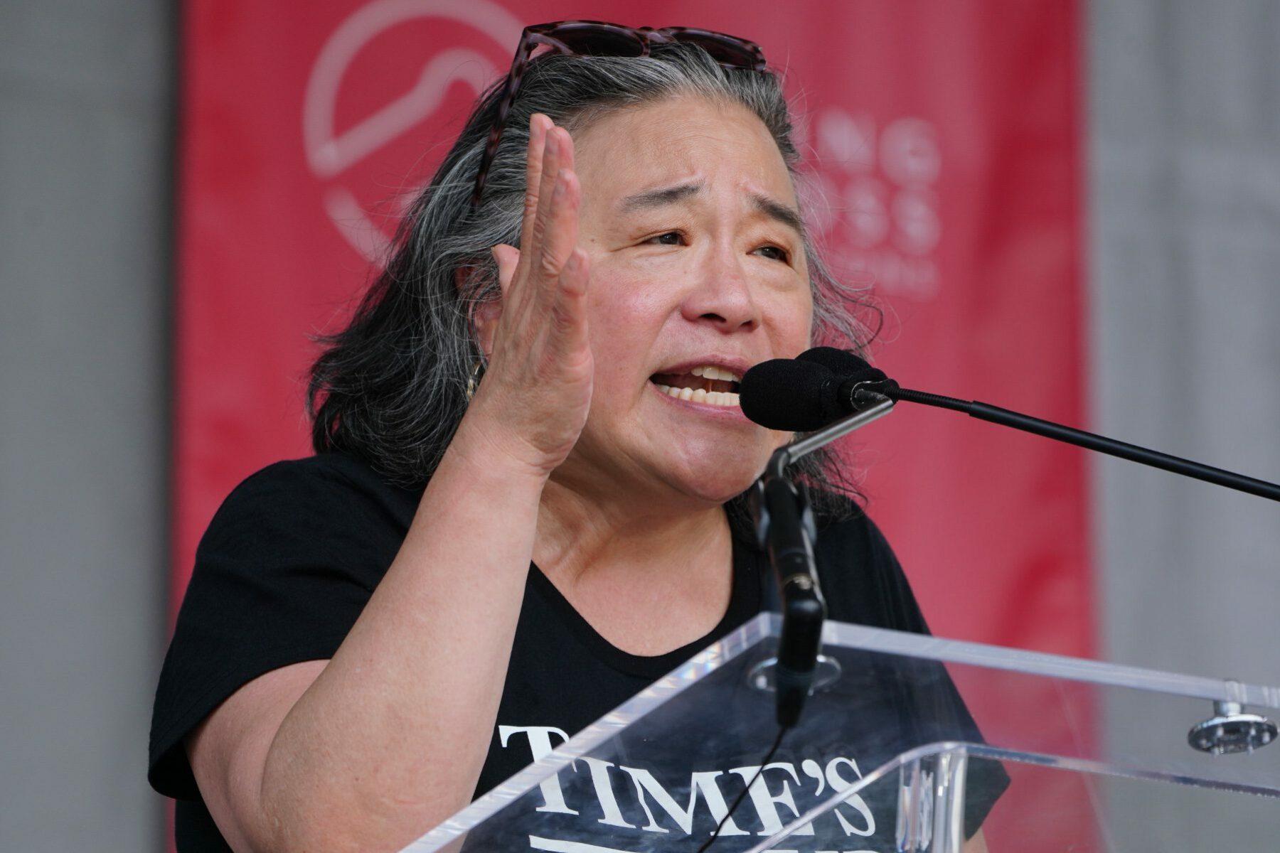 Tina Tchen speaking at an event.