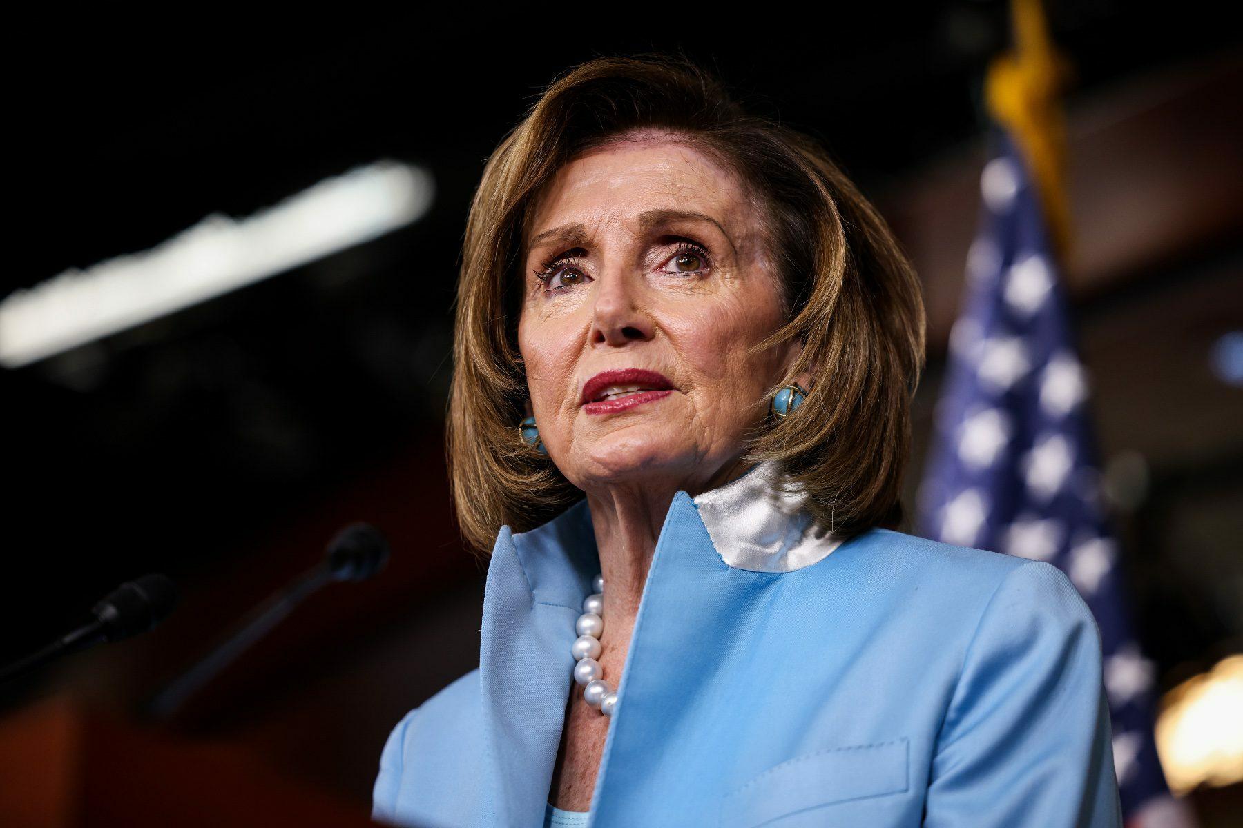 A photo of Nancy Pelosi speaking.