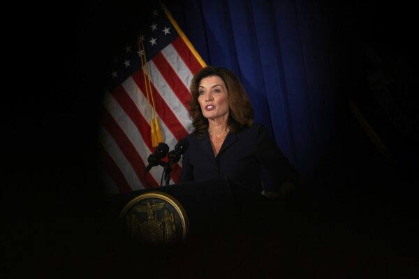 Kathy Hochul speaks during a press conference.
