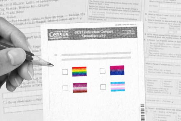 A collage shows a hand filling out a questionnaire containing various pride flags.