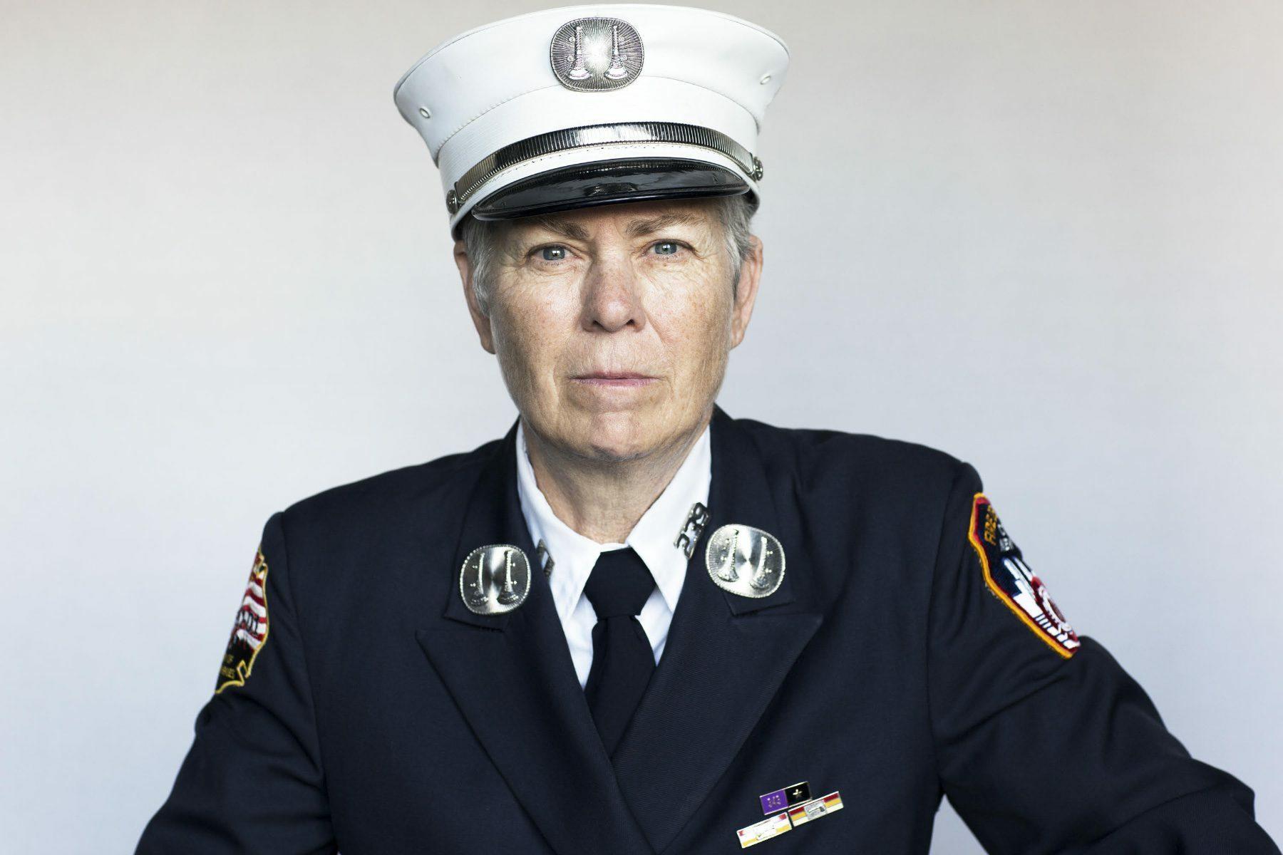 A portrait of Brenda Berkman, a woman raising awareness about women first responders at 9/11.