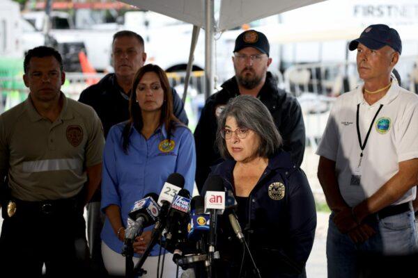 Miami-Dade County Mayor Daniella Levine Cava speaks at a news conference.