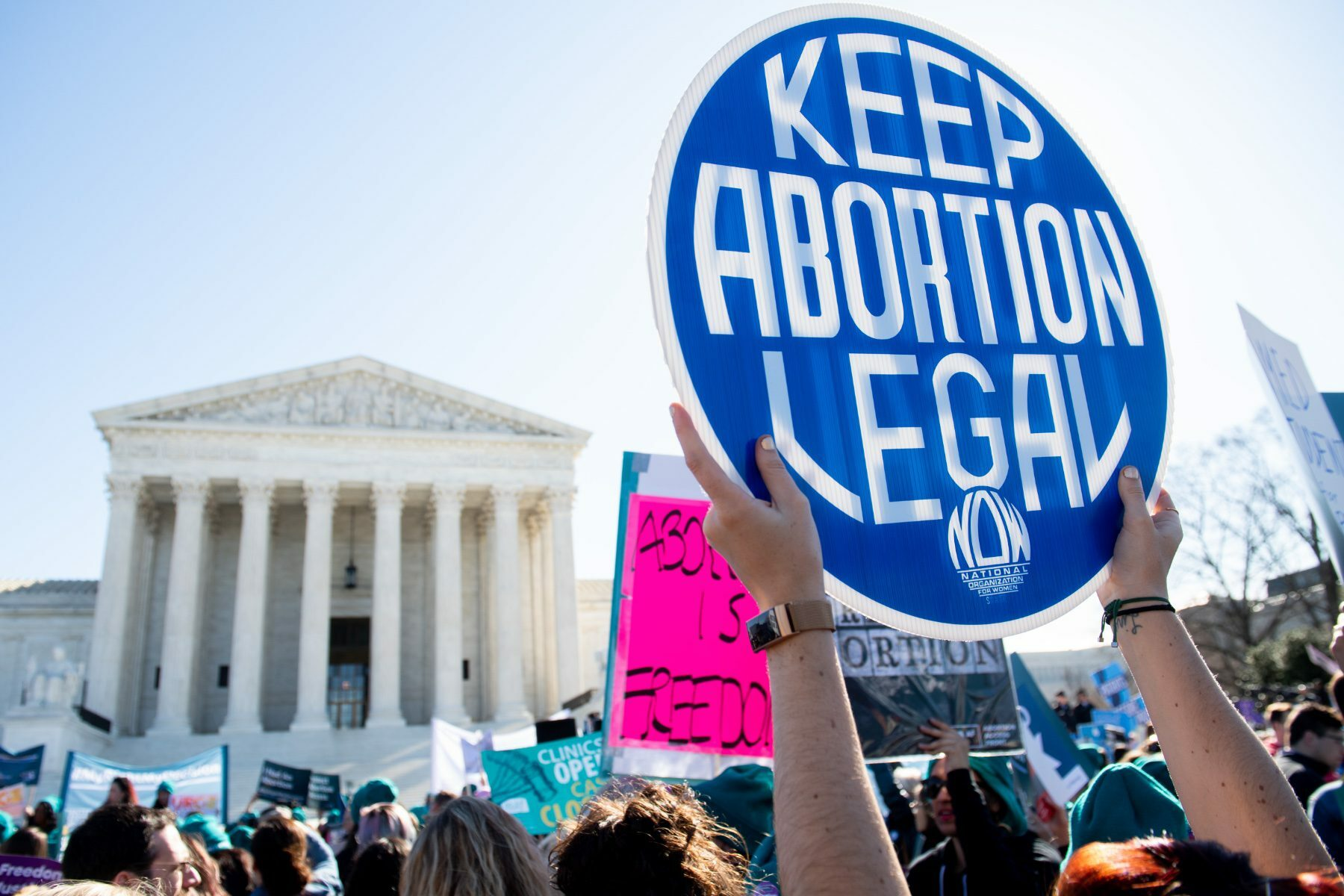 Pro-choice activists supporting legal access to abortion protest during a demonstration outside the US Supreme Court.