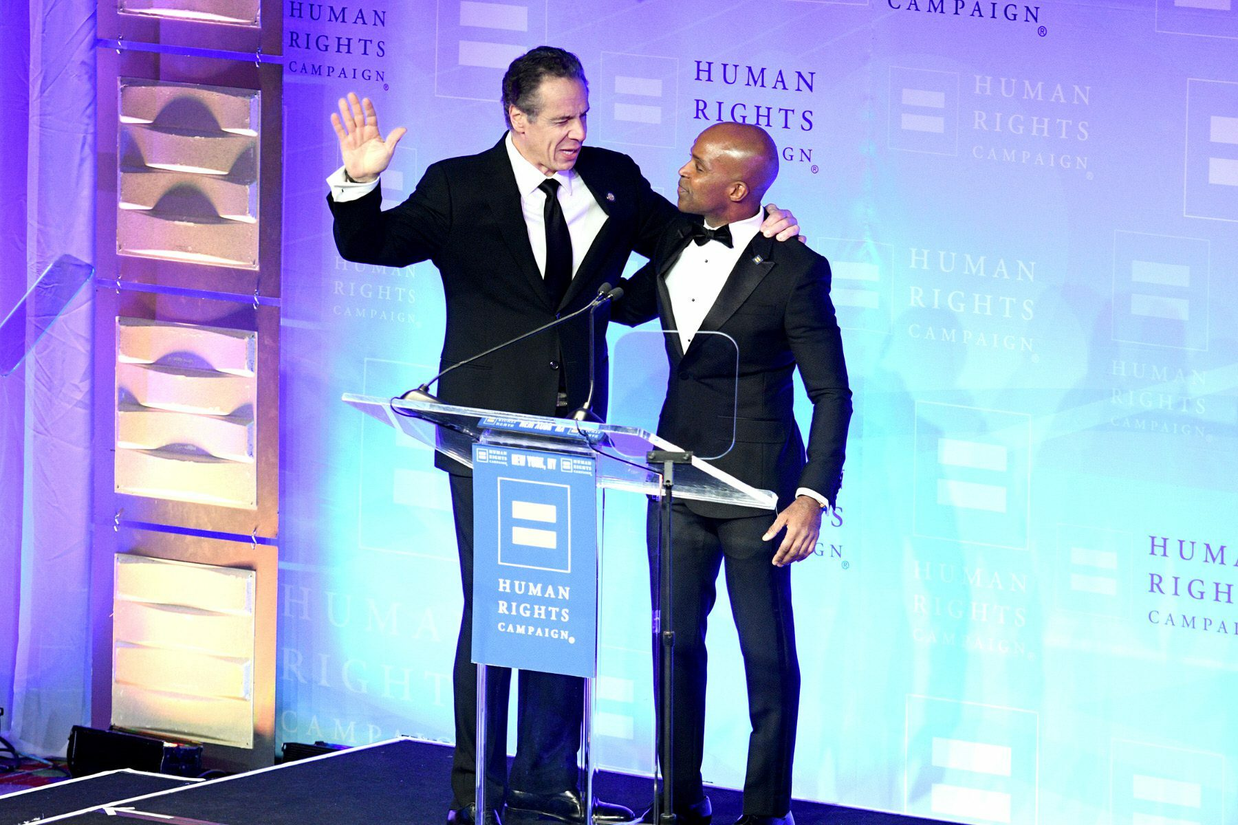Andrew Cuomo and Alphonso David at an HRC gala