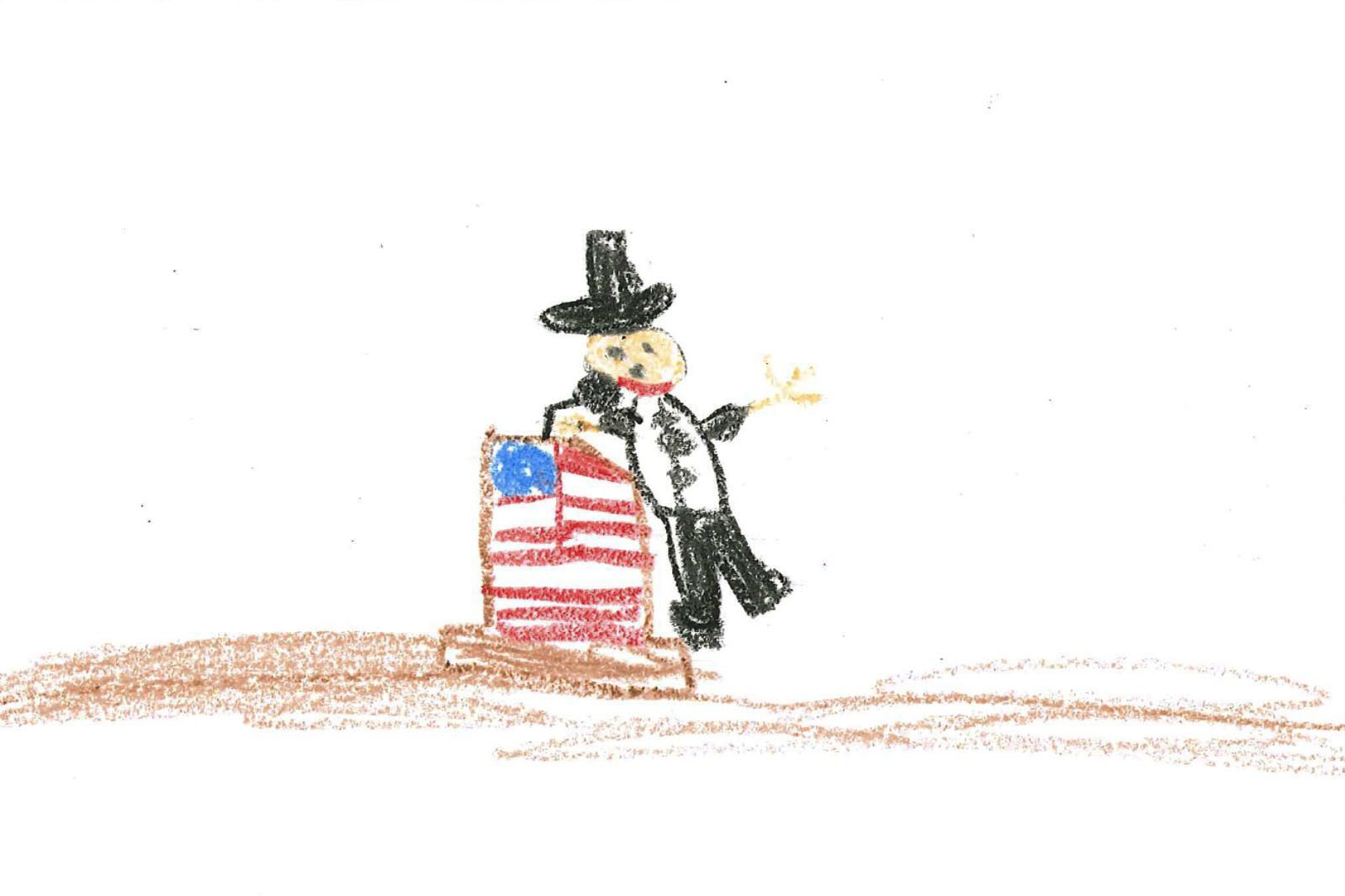 A child's drawing is pictured. The child drew what appears to be a male figure wearing a black outfit and black hat giving a speech at a podium. The podium is decorated with an American flag.