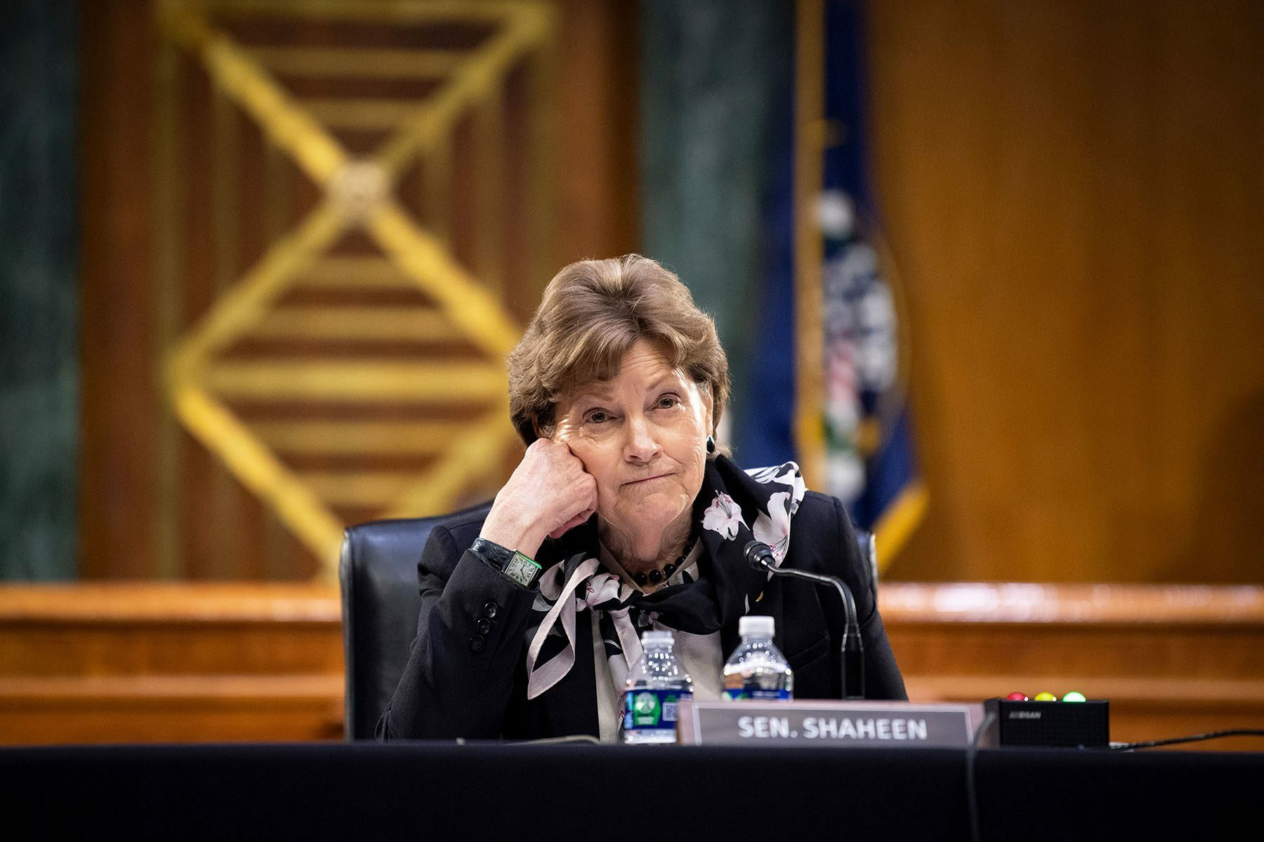 Sen. Shaheen sits behind a desk on Capitol Hill.