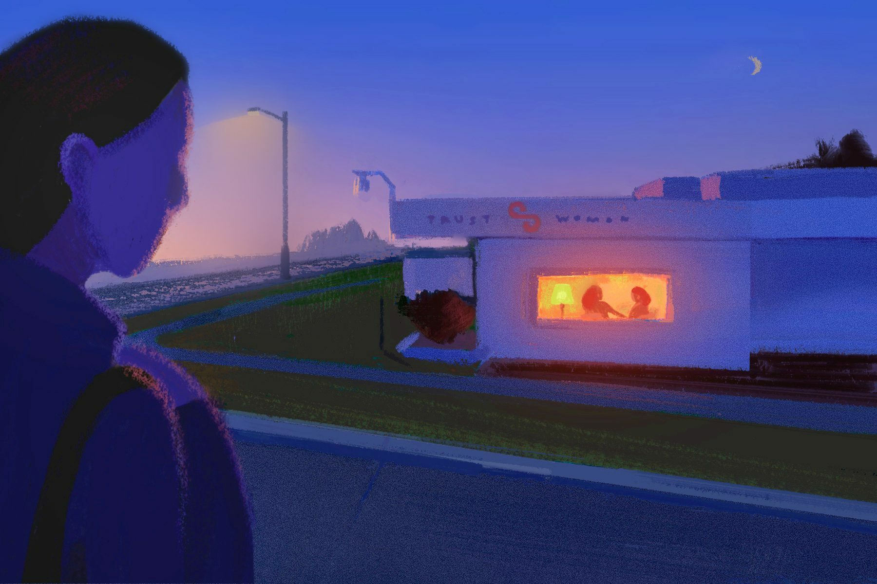 In this illustration, a figure approaches the Trust Women clinic in Wichita, Kansas at dusk. A warm glow comes from the clinic's window where two more figures are seen.