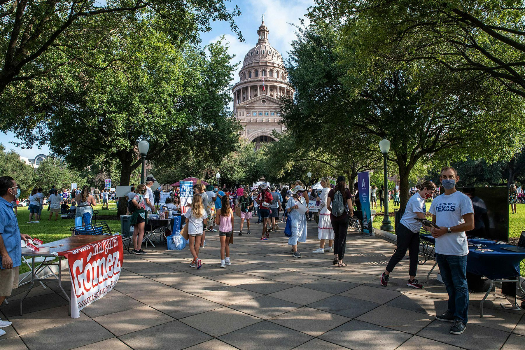 The Texas State Capitol is seen as people gather for the Women's March.