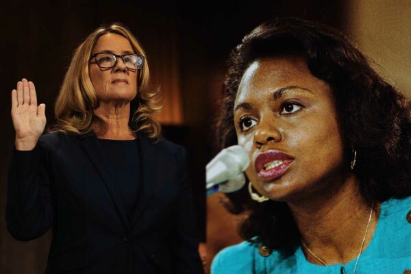 A composite image of Anita Hill and Christine Blasey Ford's hearings before the Senate Judiciary Committee.