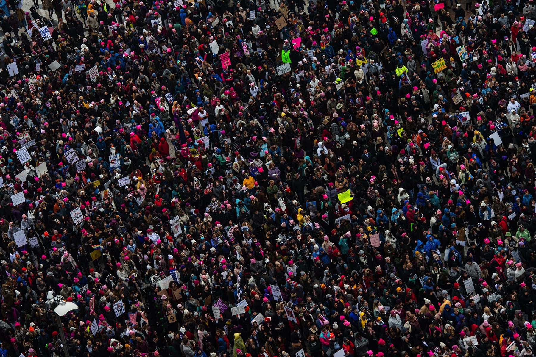 A bird's eye view of demonstrators at the 2019 Women's March.