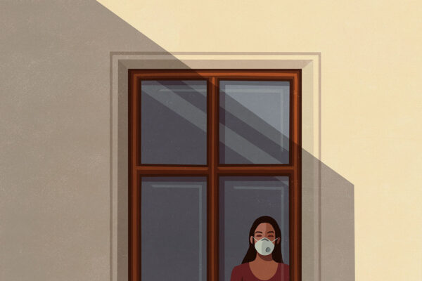 An illustration of a woman standing at a window wearing a face mask.