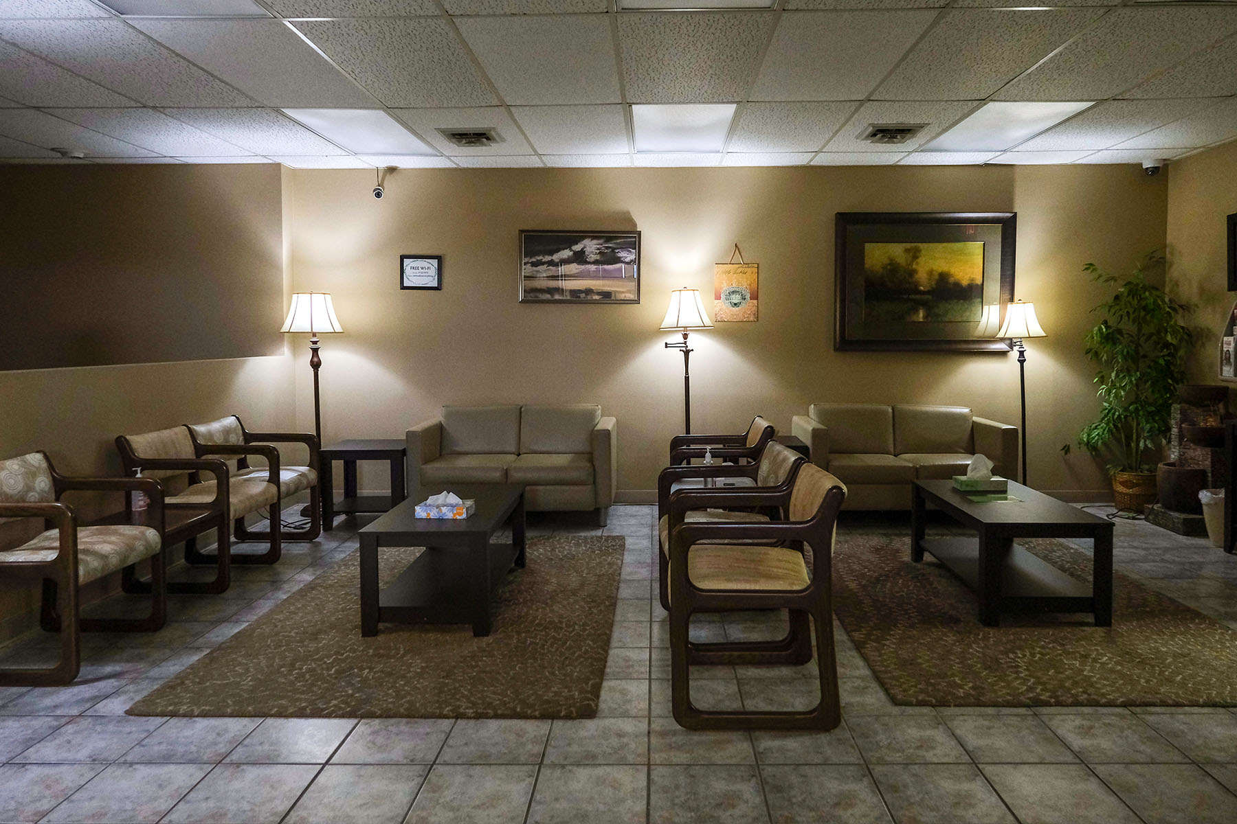 A tidy waiting room is seen at Trust Women: pictures are hung up on the wall and plants adorn the corners.